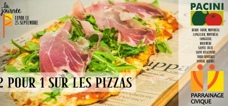 Pacini offre un 2 pour 1 sur les pizzas pour la bonne cause!